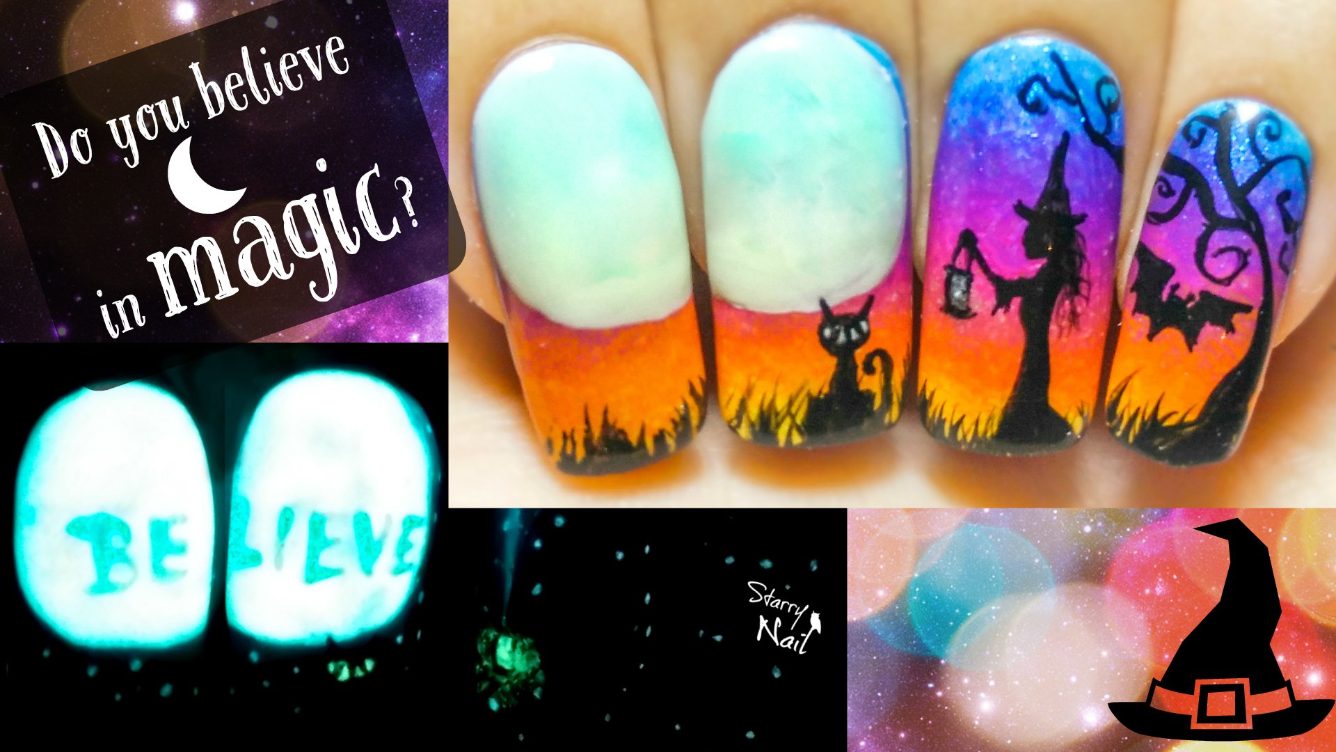 Do you believe in magic halloween witch glow in the dark halloween witch glow in the dark freehand nail art tutorial prinsesfo Images
