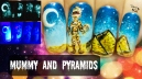 Mummy & Pyramids ⎮ Glow in the Dark Halloween Freehand Nail Art Tutorial