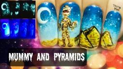 Mummy & Pyramids ⎮ Glow in the Dark Halloween Freehand Nail Art Tutorial