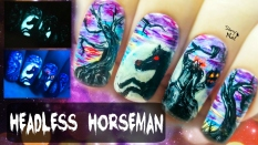Headless Horseman ⎮ Glow in the Dark Freehand Nail Art Tutorial