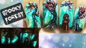 Ghosts in a Spooky Forest ⎮ Glow in the Dark Halloween Freehand Nail Art Tutorial