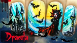 Dracula ⎮ Vampire Nails ⎮ Halloween Freehand Nail Art Tutorial