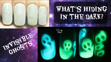 Invisible Ghosts ⎮ Glow in the Dark Freehand Nail Art Tutorial