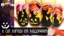 A Cat Family on Halloween ⎮ Freehand Nail Art Tutorial