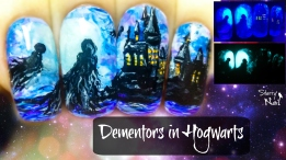 Dementors in Hogwarts ⎮ Harry Potter ⎮ Glow in the Dark Freehand Nail Art Tutorial