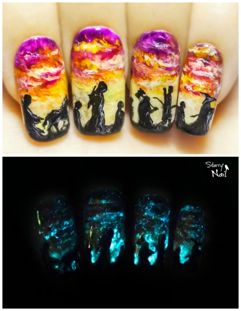 The Fellowship of the Ring ⎮ Glow in the Dark Freehand Nail Art Tutorial