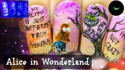 Alice in Wonderland ⎮ The Cheshire Cat ⎮ Glow in the Dark Freehand Nail Art Tutorial