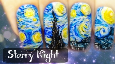 Starry Night Freehand Nail Art Tutorial (New Version)