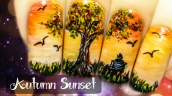 Autumn Sunset Freehand Nail Art Tutorial