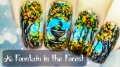 A Fountain in the Forest ⎮ Autumn Freehand Nail Art Tutorial