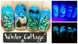 Winter Cottage ⎮ Christmas Glow in the Dark Freehand Nail Art Tutorial