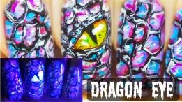 Dragon Eye ⎮ Glow in the Dark Freehand Nail Art Tutorial