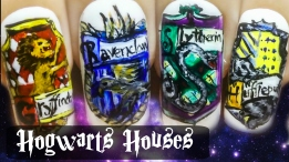 Hogwarts Houses ⎮ Harry Potter ⎮ Gryffindor ⎮ Freehand Nail Art Tutorial