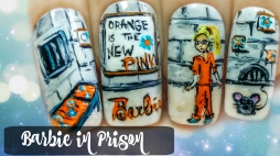 Barbie in Prison ⎮ Orange is the New Pink ⎮ Freehand Nail Art Tutorial