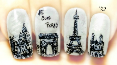 """Je Suis Paris"" Tribute ⎮ Freehand Nail Art Tutorial"