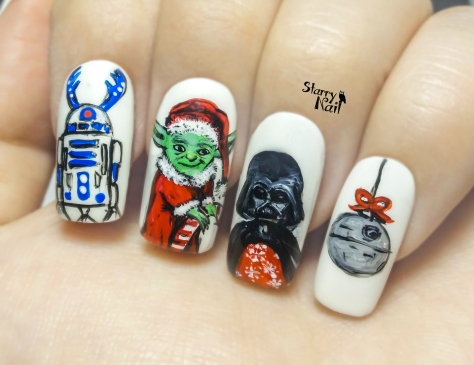 Star Wars on Christmas ⎮ Yoda as Santa ⎮ Freehand Nail Art Tutorial
