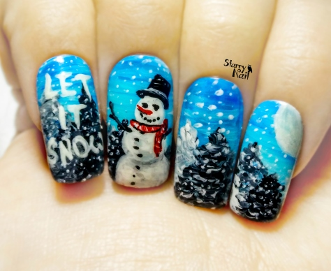 Snowman ⎮ Glow in the Dark Christmas Freehand Nail Art Tutorial