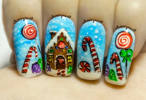 Gingerbread House ⎮ Christmas Freehand Nail Art Tutorial