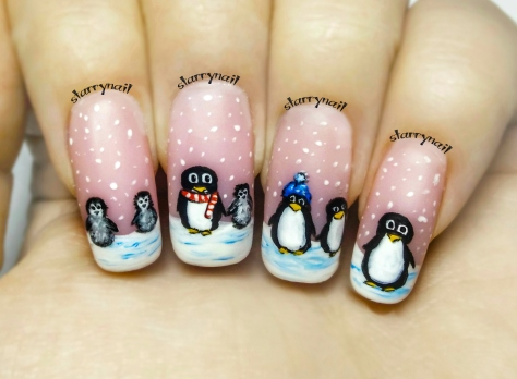 A Penguin Family ⎮ Freehand Nail Art Tutorial