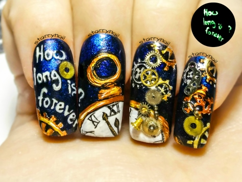 It's Almost Midnight ⎮Steampunk New Year's Eve ⎮Glow in the Dark Freehand Nail Art Tutorial