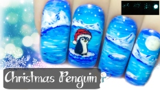 Christmas Penguin ⎮ Glow in the Dark Freehand Nail Art Tutorial