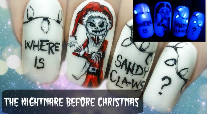 the nightmare before christmas glow in the dark freehand nail art tutorial starrynail - Nightmare Before Christmas Nail Art