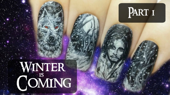 Jon Snow & Ghost (Part 1) ⎮ Game of Thrones ⎮ Freehand Nail Art Tutorial