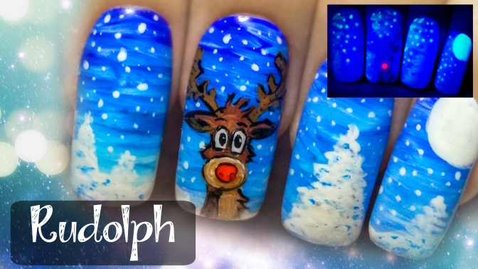 Rudolph The Red Nosed Reindeer ⎮ Glow in the Dark Freehand Nail Art Tutorial