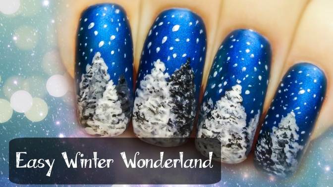 Easy Winter Wonderland ⎮ Freehand Nail Art Tutorial