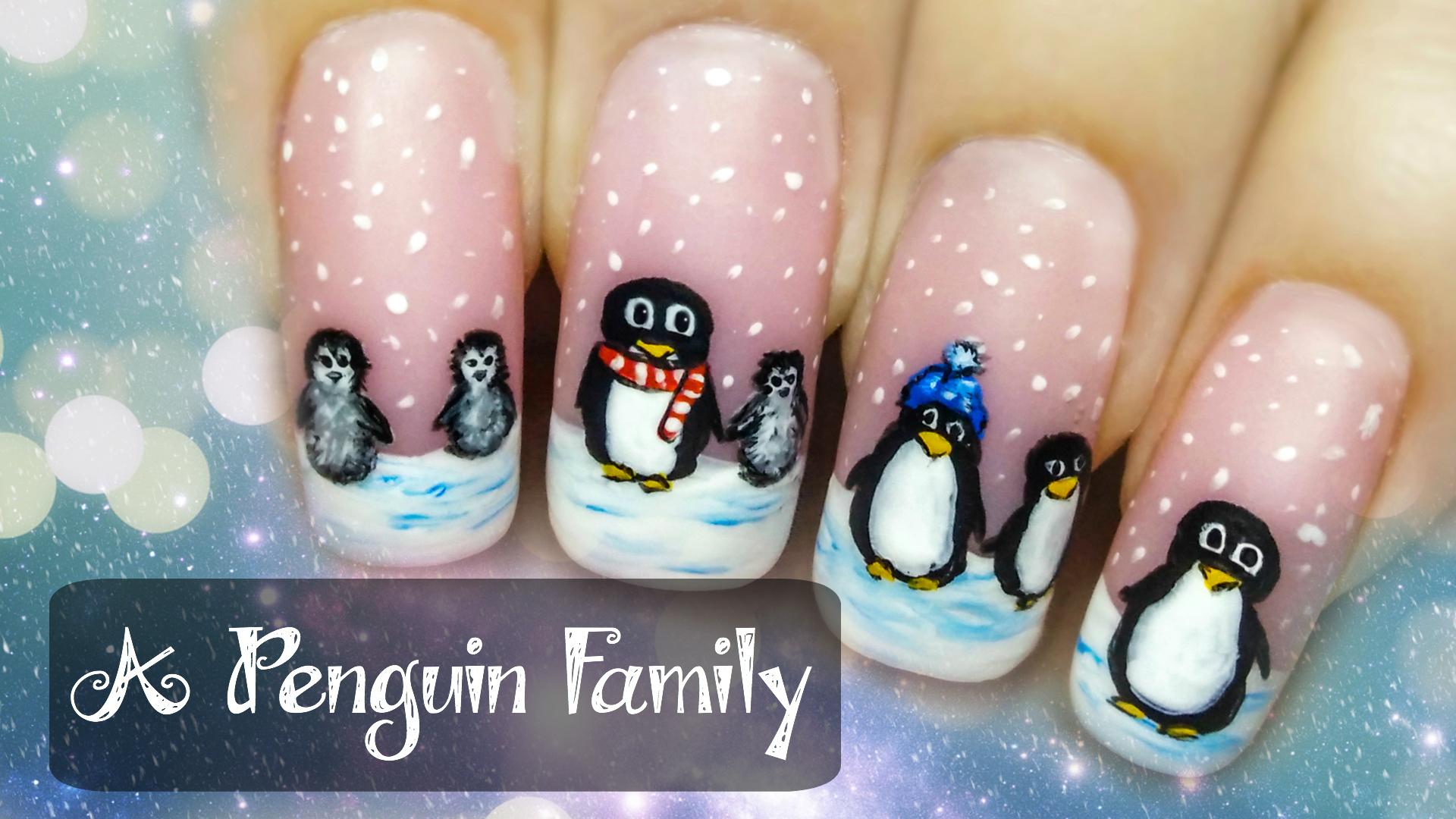 A Penguin Family ⎮ Freehand Nail Art Tutorial | StarryNail