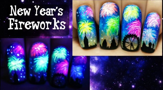New years fireworks glow in the dark freehand nail art new years fireworks glow in the dark freehand nail art tutorial starrynail prinsesfo Images
