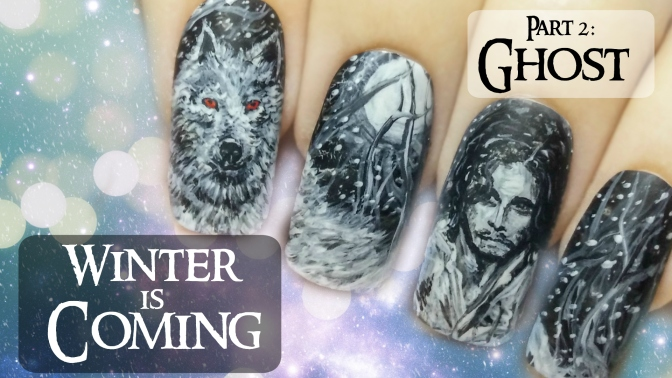 Jon Snow & Ghost (Part 2) ⎮ Game of Thrones ⎮ Freehand Nail Art Tutorial