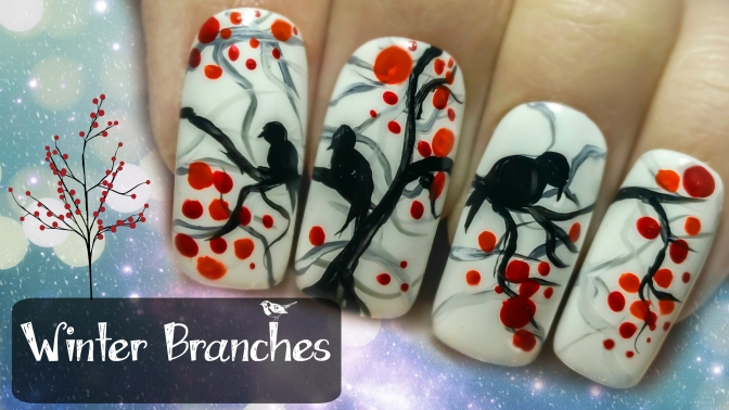 Easy Winter Branches ⎮ Freehand Nail Art Tutorial