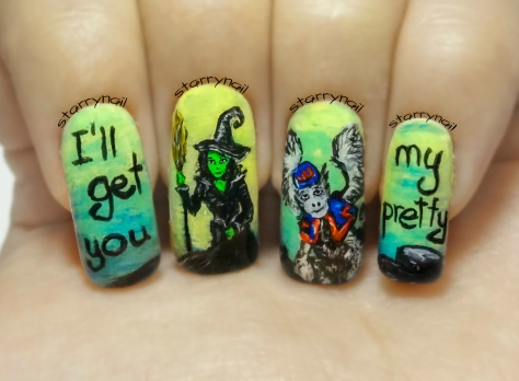 The Wicked Witch of the West (The Wizard of Oz - Part 4) ⎮ Freehand Nail Art Tutorial