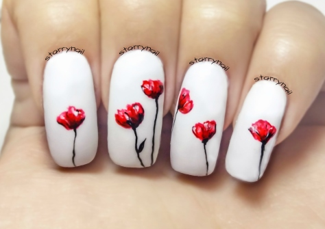 Poppies Freehand Nail Art Tutorial