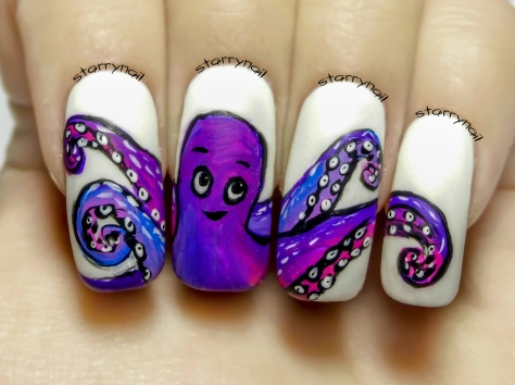 Cute Octopus ⎮ Freehand Nail Art Tutorial