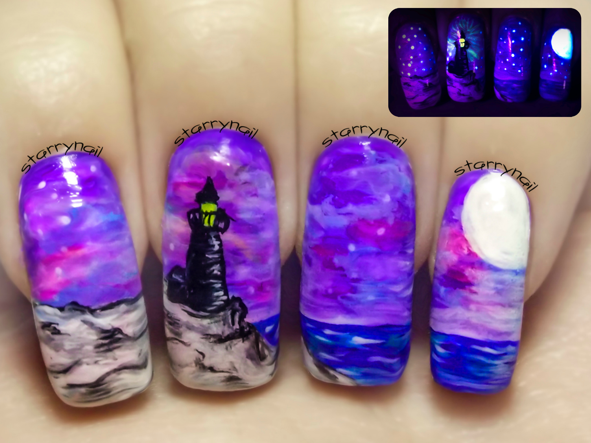 Lighthouse at Night ⎮ Glow in the Dark Freehand Nail Art Tutorial ...