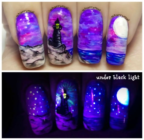 Lighthouse at Night ⎮ Glow in the Dark Freehand Nail Art Tutorial