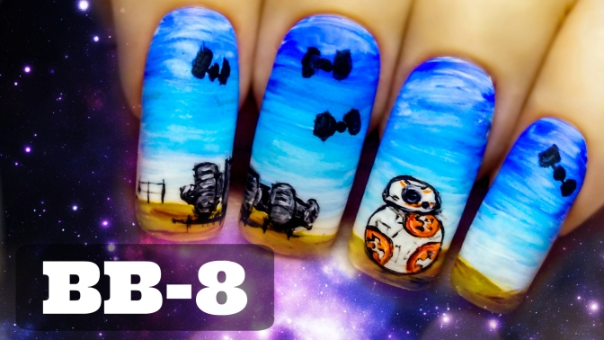 BB-8 ⎮ Star Wars – The Force Awakens ⎮ Freehand Nail Art Tutorial
