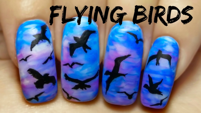Easy Flying Birds ⎮ Freehand Nail Art Tutorial