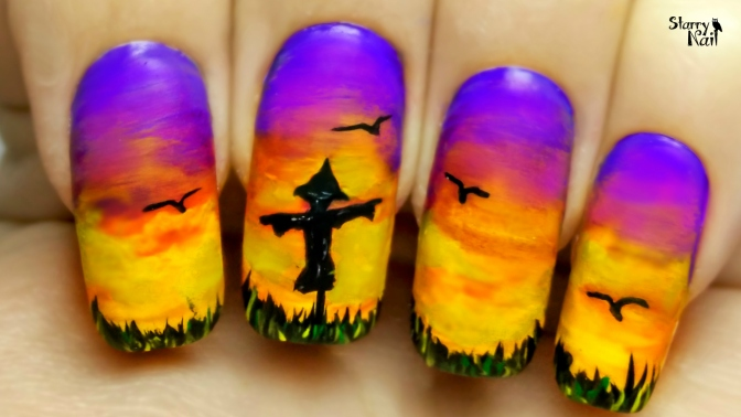 Lonely Scarecrow ⎮ Freehand Nail Art Tutorial