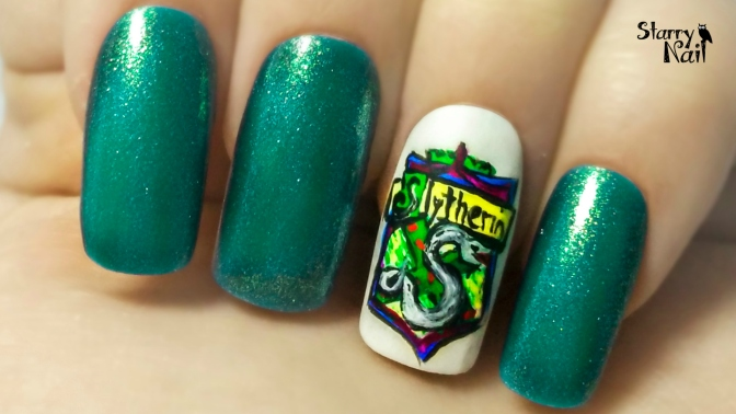 Slytherin Crest ⎮ Hogwarts Houses ⎮ Freehand Nail Art Tutorial