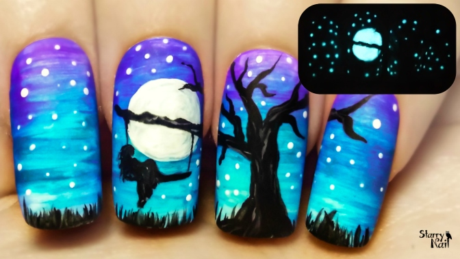 A Tree Swing at Midnight ⎮ Glow in the Dark Freehand Nail Art Tutorial