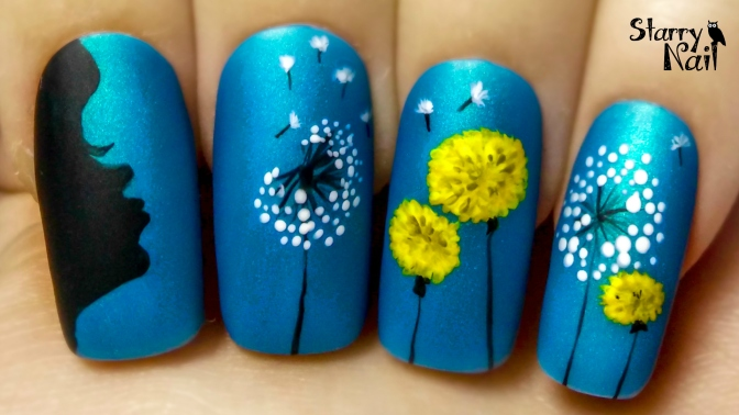 Make a Wish ⎮ Dandelion ⎮ Freehand Nail Art Tutorial