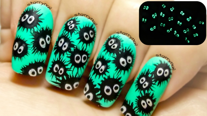 Susuwatari ⎮ Glow in the Dark Easy Freehand Nail Art Tutorial