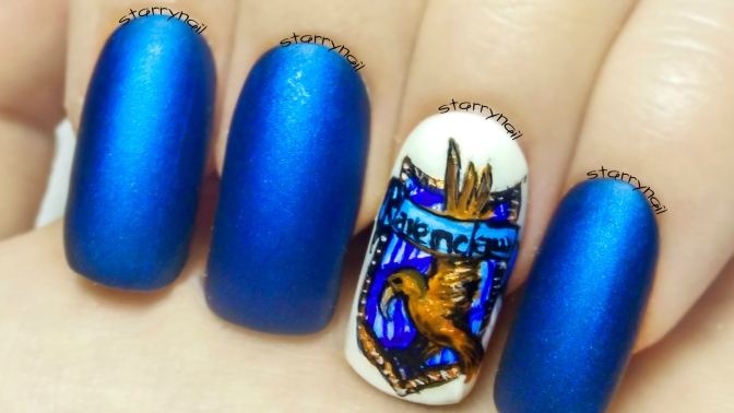Ravenclaw Crest ⎮ Hogwarts Houses ⎮ Freehand Nail Art Tutorial
