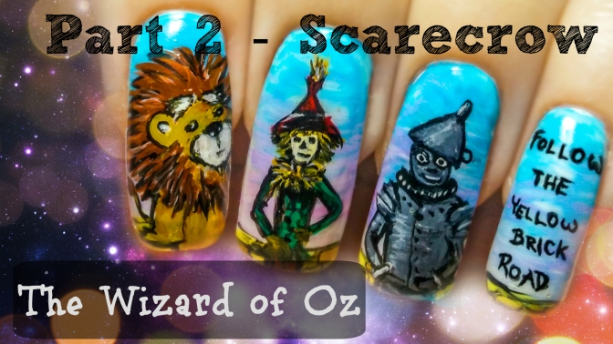 The Wizard of Oz (Part 2 – Scarecrow) ⎮ Freehand Nail Art Tutorial