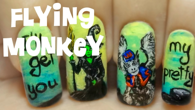 Flying Monkey (The Wizard of Oz – Part 5) ⎮ Freehand Nail Art Tutorial