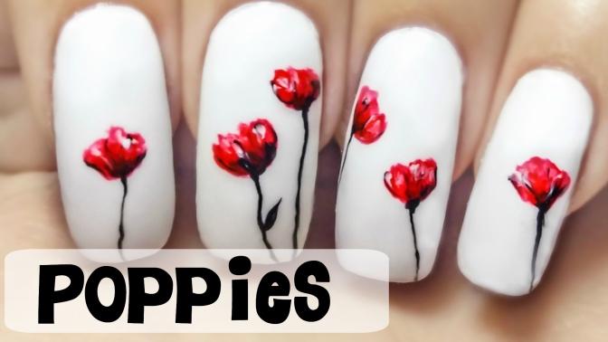 Poppies Freehand Nail Art Tutorial