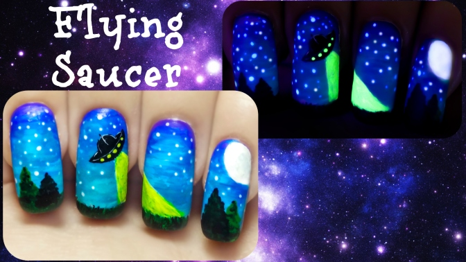 UFO Flying Saucer ⎮ Glow in the Dark Freehand Nail Art Tutorial